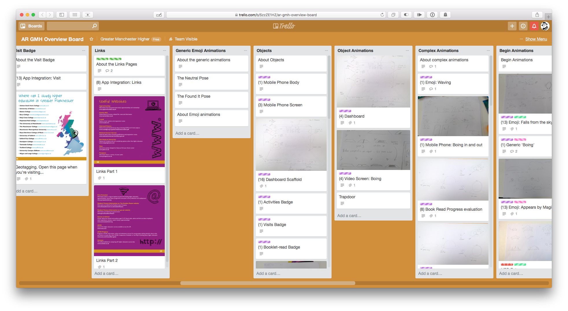 Storyboards and animation planning on Trello