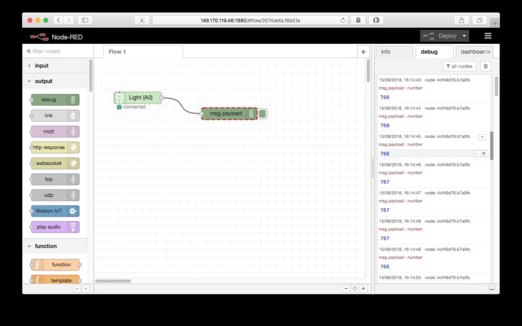 showing sensor output using debug nodes