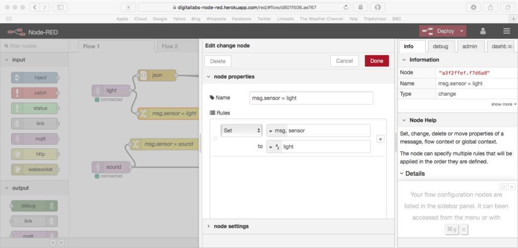 configuring a change node