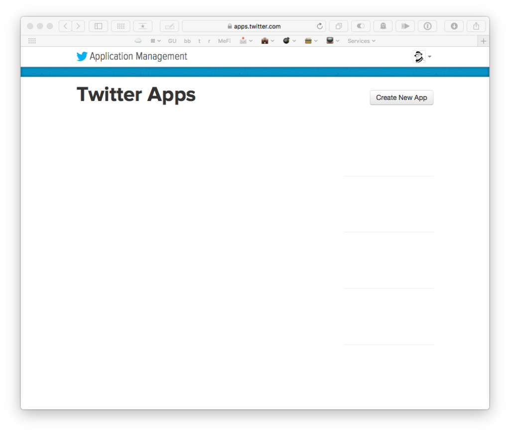 The Twitter Applications page